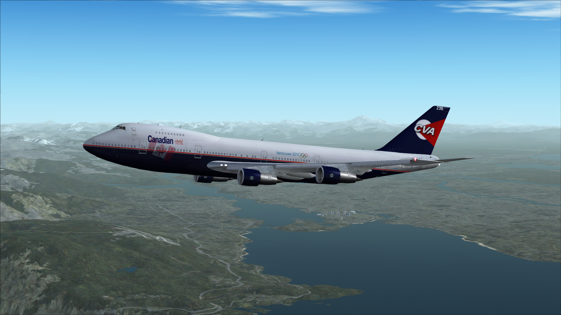 Climbing out above CYVR in CLS 747-200.